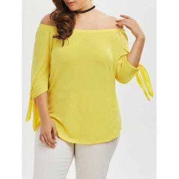 Off The Shoulder Tied Sleeve Plus Size Top