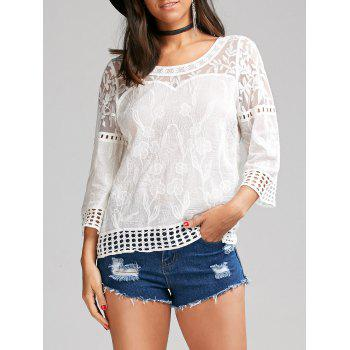 Flower Jacquard Blouse with Lace Trim