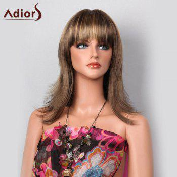 Adiors Highlight Tail Upwards Full Bang Layered Long Straight Synthetic Wig