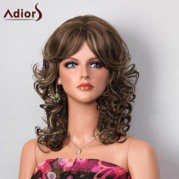 Adiors Side Bang Highlight Layered Shaggy Medium Curly Synthetic Wig