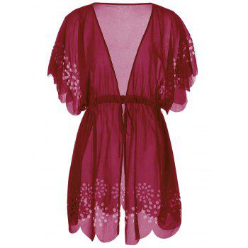 Plus Size Tie Front Scalloped Cover-Ups