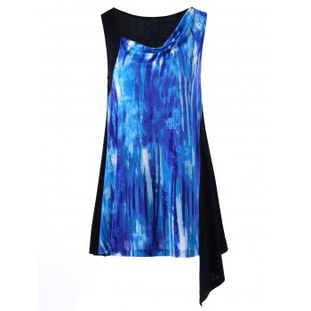 Cowl Neck Printed Asymmetrical Sleeveless Top