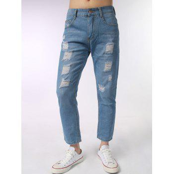 Light Wash Zipper Fly Ripped Jeans