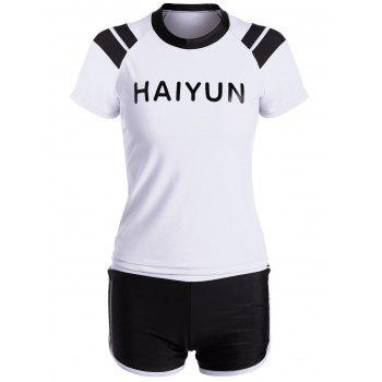 Sports Short Sleeve Boyleg Two Piece Swimsuit