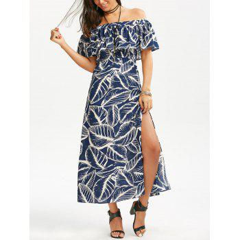 Off Shoulder Empire Waist Maxi Leaf Dress