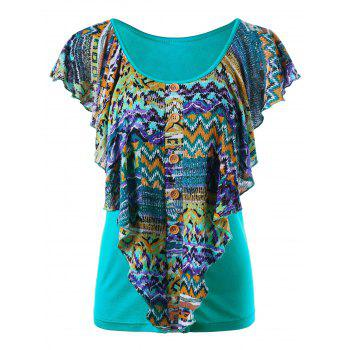 Scoop Neck Ruffle Overlay Printed Top