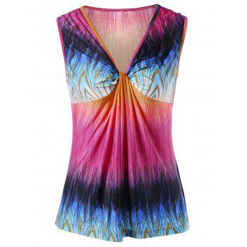 V Neck Knot Colorful Tank Top