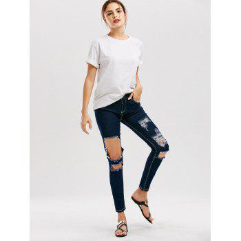Distressed Cut Out Skinny Jeans - DEEP BLUE DEEP BLUE