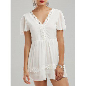 V Neck Lace Insert Backless Mini Dress