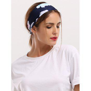 Wide Elastic Showy Floral Printed Headband