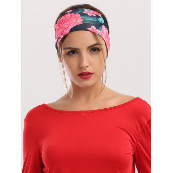 Wide Athletic Elastic Flowers Printed Headband