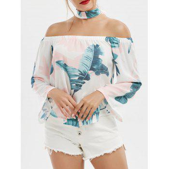 Printed Off Shoulder Chiffon Top