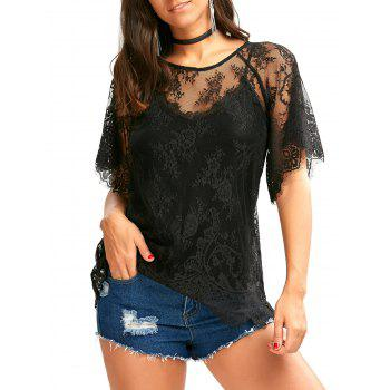 Sheer Eyelash Lace Top with Raglan Sleeve