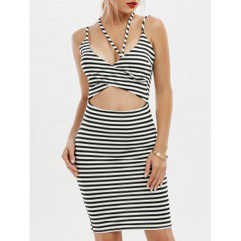 Striped Criss Cross Cut Out Bodycon Dress