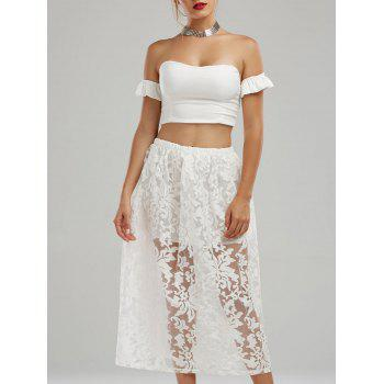 Off The Shoulder High Waisted Two Piece Midi Dress