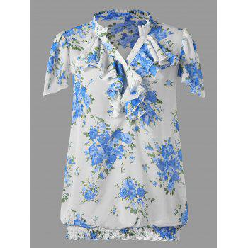 Plus Size Ruffle Trim Smocked Hem Floral Blouse - BLUE BLUE
