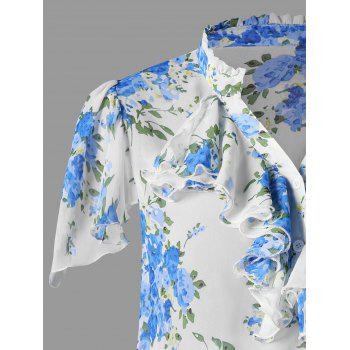 Plus Size Ruffle Trim Smocked Hem Floral Blouse - BLUE 4XL