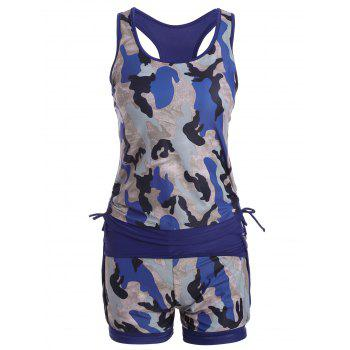 High Waisted Camo Racerback Sports Tankini Set