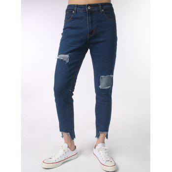 Embroidered Asymmetric Hem Distressed Jeans