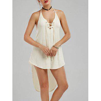 Ribbed Lace-up High Low Summer Dress