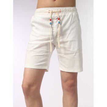 Wood Beads Drawstring Waist Shorts