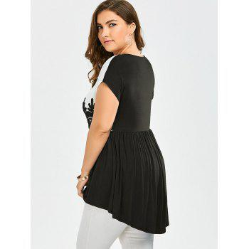 Lace Insert Plus Size High Low Top - BLACK BLACK