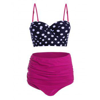 Plus Size Underwire Polka Dot High Waisted Bikini Set