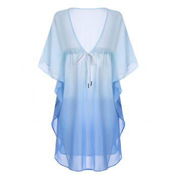 Plus Size Ombre Chiffon Drawstring Cover-Up