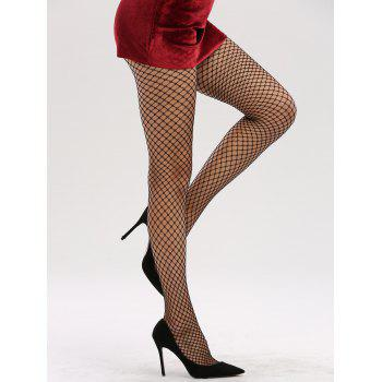 See Through Hollow Out Fishnet Tights - BLACK BLACK