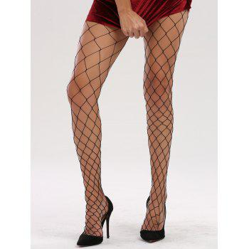 See Through Hollow Out Fishnet Tights - FULL BLACK