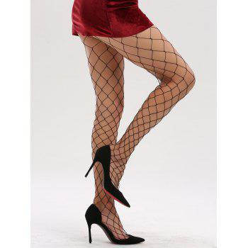 See Through Hollow Out Fishnet Tights - FULL BLACK FULL BLACK