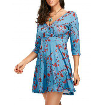 Empire Waist Floral Print Surplice Tunic Dress