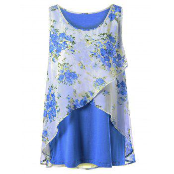 Plus Size Tiny Floral Overlap Tank Top - BLUE XL