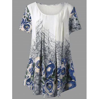 Plus Size 3D  Printed Rose Tunic Top - BLUE XL