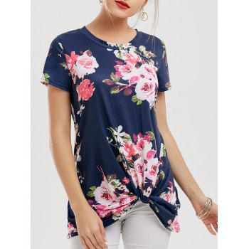 Floral Knotted Longline T-Shirt