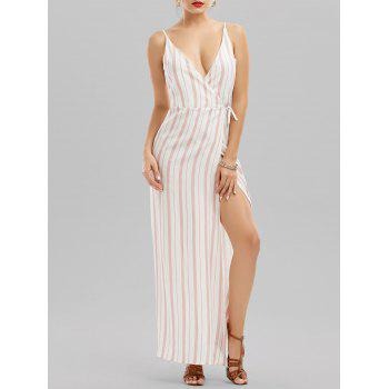 Spaghetti Strap Striped Maxi Wrap Dress