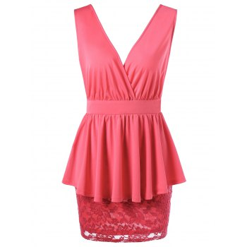 Crossover Lace Peplum Dress - WATERMELON RED WATERMELON RED