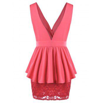 Crossover Lace Peplum Dress - WATERMELON RED 2XL