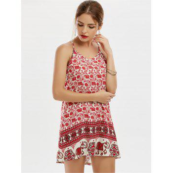 Sleeveless Tribal Print Mini Dress - RED RED