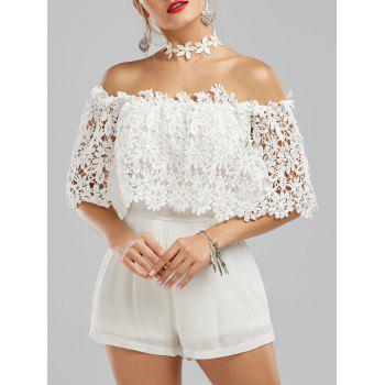 Off The Shoulder Floral Lace Panel Romper