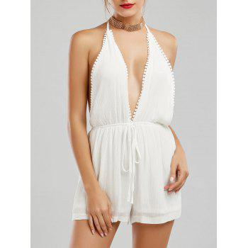 Backless Plunging Neck Halter Linen Romper