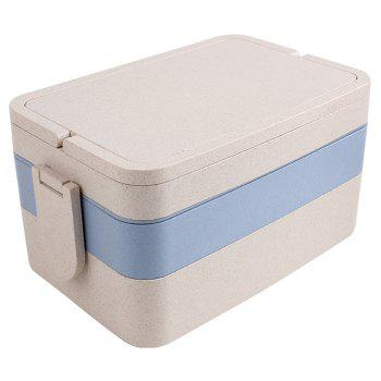 Wheat Straw Three Layers Large Capacity Portable Square Lunch Box