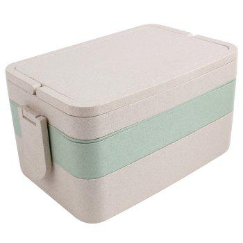 Wheat Straw Three Layers Large Capacity Portable Square Lunch Box - GREEN GREEN