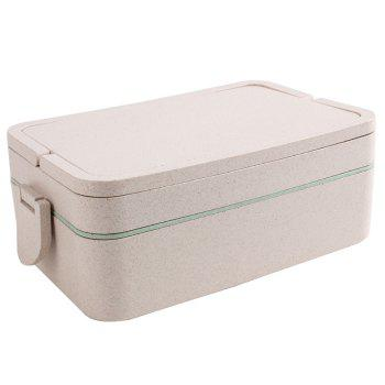 Double Layers Large Capacity Portable Square Wheat Straw Lunch Box