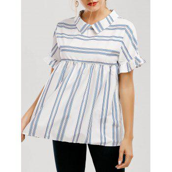 Striped Peter Pan Collar Ruffle Sleeve Blouse