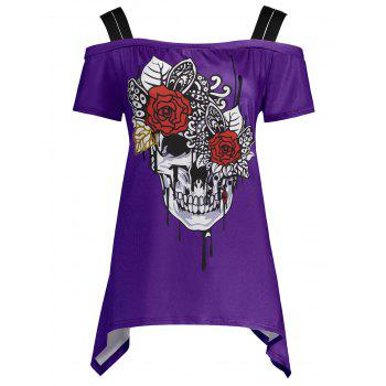 Skull Print Cold Shoulder Plus Size Top
