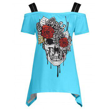 Skull Print Cold Shoulder Plus Size Top - LAKE BLUE LAKE BLUE