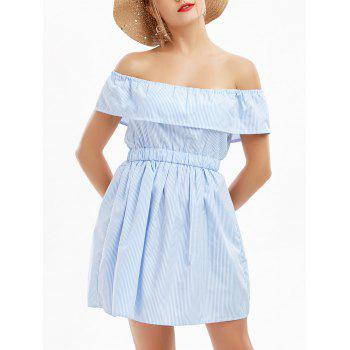 Off The Shoulder Striped Cut Out Dress