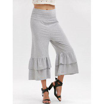 High Waist Layered Capri Palazzo Pants