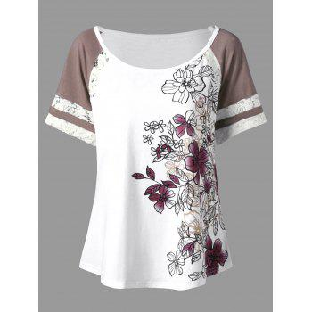 Floral Print Plus Size T-shirt - WHITE XL